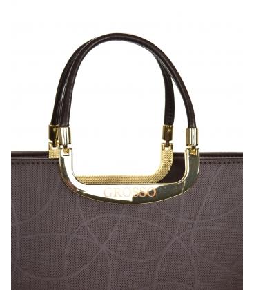 Hnedá elegantná vystužená kabelka V21SM002brown - GROSSO