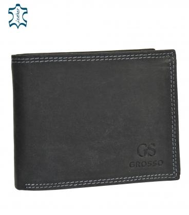 Men's black leather wallet GROSSO ZM-128R-033