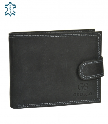 Men's black leather wallet GROSSO ZM-128R-032