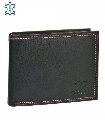 Men's leather black wallet with red stitching GROSSO GM-81B-033