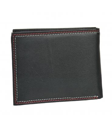 Férfi bőr fekete pénztárca piros varrással GROSSO GM-81B-033