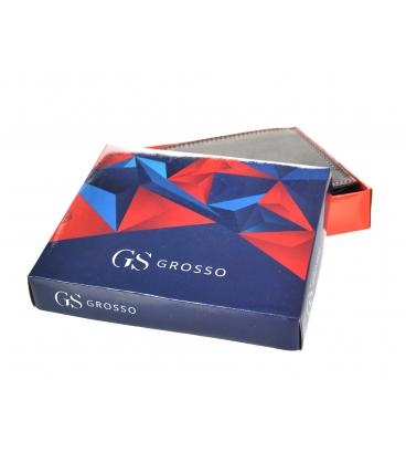 Pánska kožená čierna peňaženka s červeným prešívaním GROSSO GM-81B-033