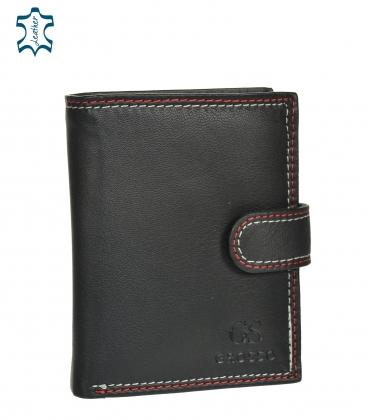 Férfi bőr fekete pénztárca piros varrással GROSSO GM-81B-123A