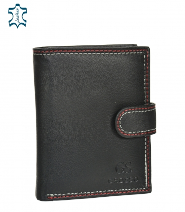 Men's leather black wallet with red stitching GROSSO GM-81B-123A
