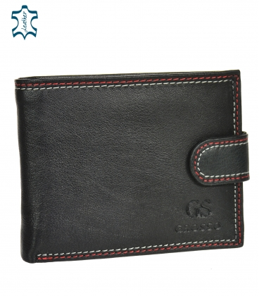 Men's leather black wallet with red stitching GROSSO GM-81B-032