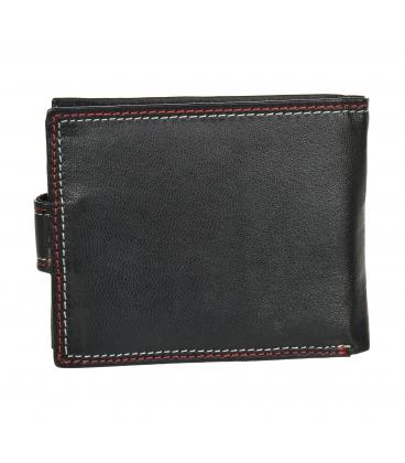 Férfi bőr fekete pénztárca piros varrással GROSSO GM-81B-032