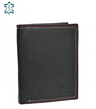 Férfi bőr fekete pénztárca piros varrással GROSSO GM-81B-123