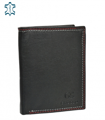Men's leather black wallet with red stitching GROSSO GM-81B-123
