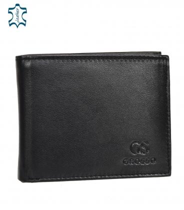 Men's black leather basic wallet GROSSO ZM-77-033