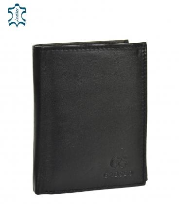 Pánska kožená čierna jednoduchá peňaženka GROSSO ZM-77-123