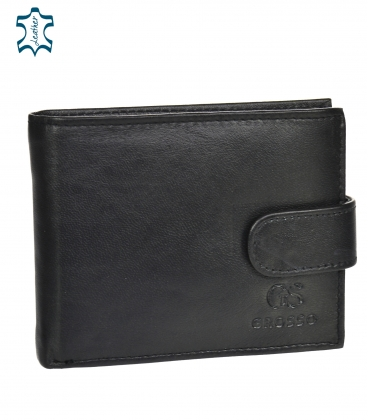 Pánska kožená čierna jednoduchá peňaženka GROSSO GM-81B-032