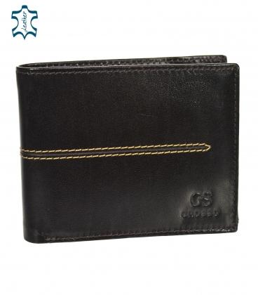 Férfi bőr sötétbarna pénztárca, steppeléssel GROSSO TMS-51R-033choco brown