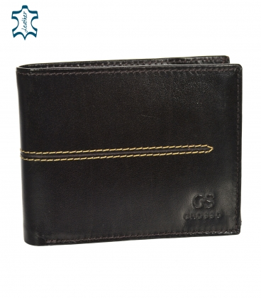 Men's leather dark brown wallet with quilting GROSSO TMS-51R-033choco brown