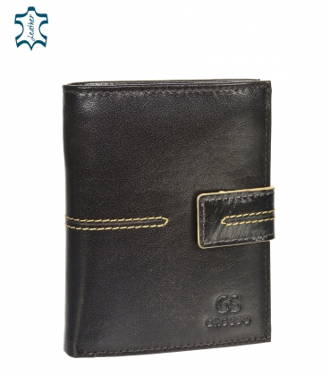 Men's leather dark brown wallet with stitching GROSSO TMS-51R-032