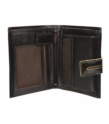 Férfi bőr sötétbarna pénztárca, steppeléssel GROSSO TMS-51R-032