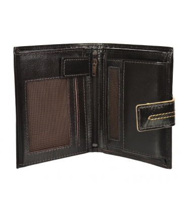 Pánska kožená tmavohnedá peňaženka s prešívaním GROSSO TMS-51R-032
