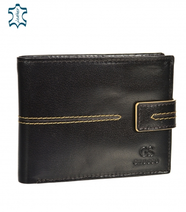 Men's leather dark brown wallet with quilting GROSSO TMS-51R-250Achoco brown