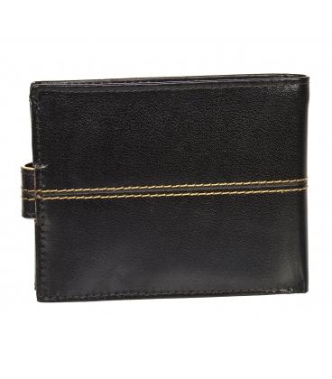 Pánska kožená tmavohnedá peňaženka s prešívaním GROSSO TMS-51R-250Achoco brown