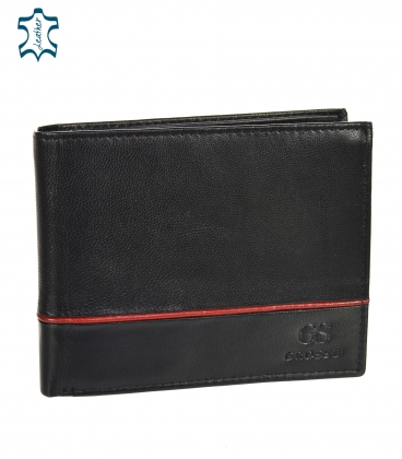 Men's leather black wallet with red stripe GROSSO TM-100R-033black/red