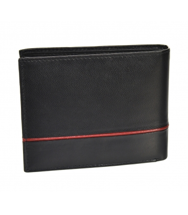 Férfi bőr fekete pénztárca piros csíkkal GROSSOTM-100R-033black/red