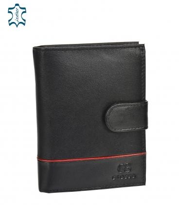 Férfi bőr fekete pénztárca piros csíkkal GROSSO TM-100R-073black/red