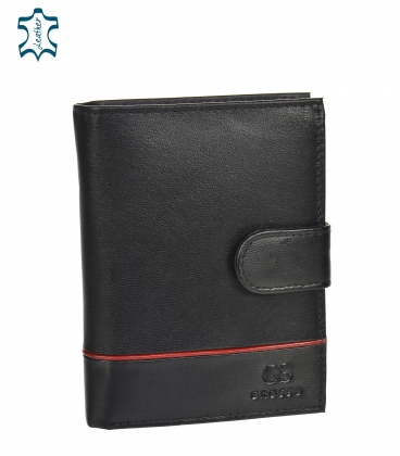 Men's leather black wallet with red stripe GROSSO TM-100R-073black/red