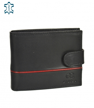 Men's leather black wallet with red stripe GROSSO TM-100R-035black/red