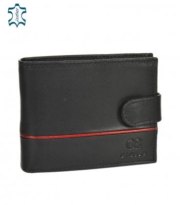 Pánska kožená čierna peňaženka s červeným pásikom GROSSO TM-100R-035black/red