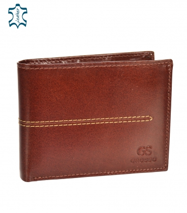 Men's leather cognac wallet with quilting GROSSO TMS-51R-033cognac