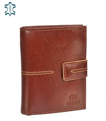 Men's leather cognac wallet with quilting GROSSO TM-100R-250Acognac