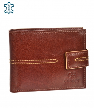 Men's leather black wallet with red stripe GROSSO TM-100R-035cognac