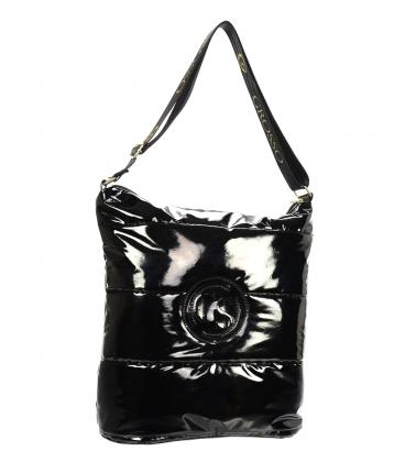 Čierna lakovaná prešívaná kabelka so zlatou retiazkou GS22V0005brown GROSSO